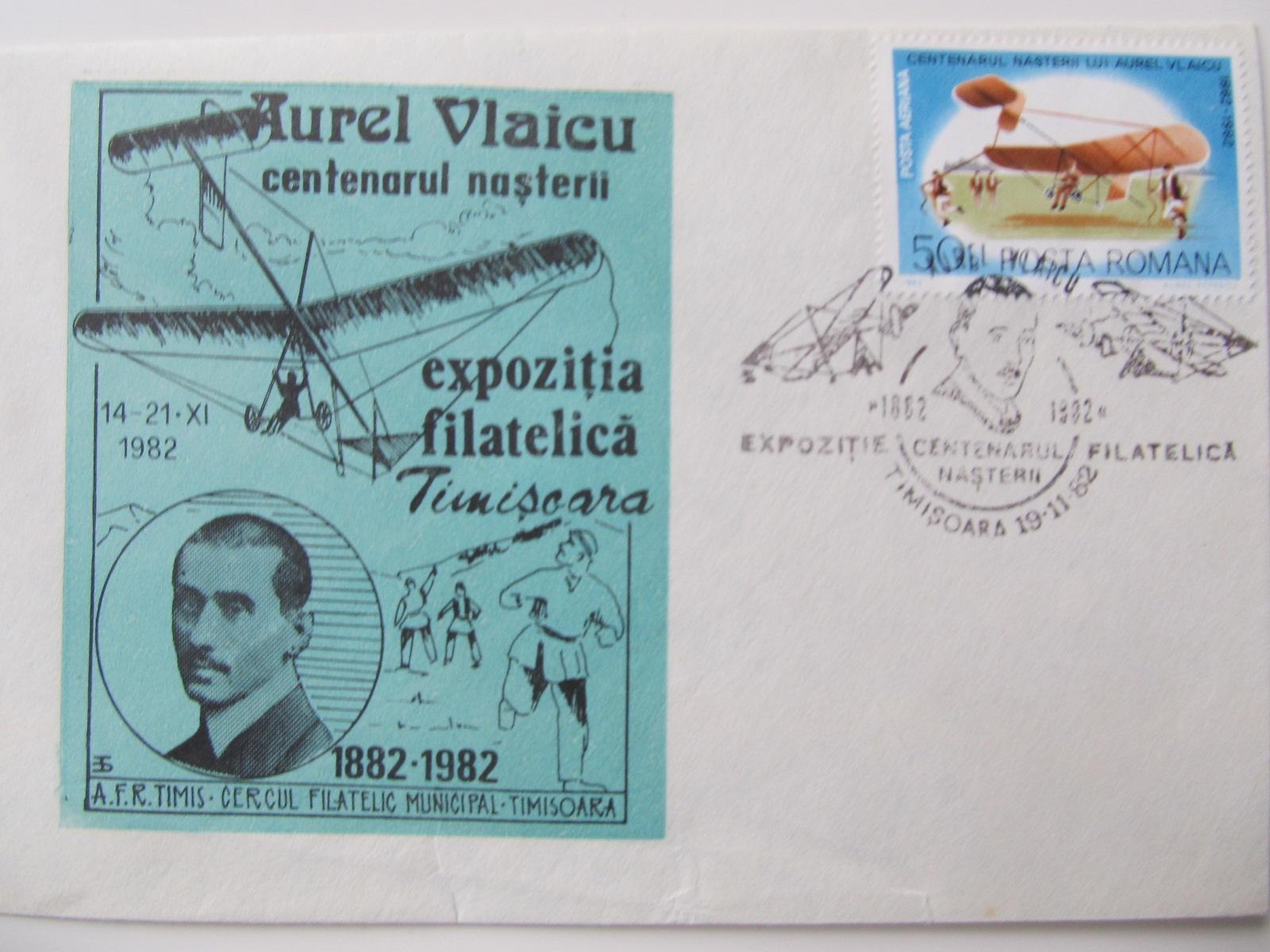 2 plic omagial , Centenarul nasterii lui Aurel Vlaicu , 1982 Timisoara