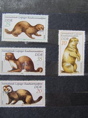 Animale cu blana , serie DDR , 1982 , nestampilata