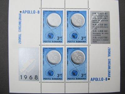 Apollo 8 , bloc de 4 , nestampilat , 1969