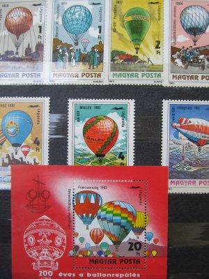Baloane cu aer , serie si colita , 1983 , nestampilata