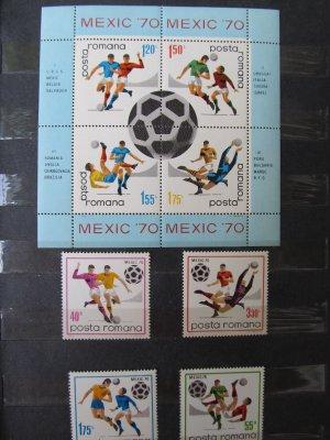 Campionatul mondial de fotbal din Mexic , serie si colita , 1970 , nestampilata (disp. 2 ex.)