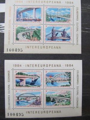 Colaborarea cultural economica intereuropeana , blocuri , 1984 , nestampilate (disp. 2 ex.)