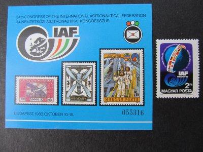 Congres international deastronautica , serie si colita , 1983 , nestampilata