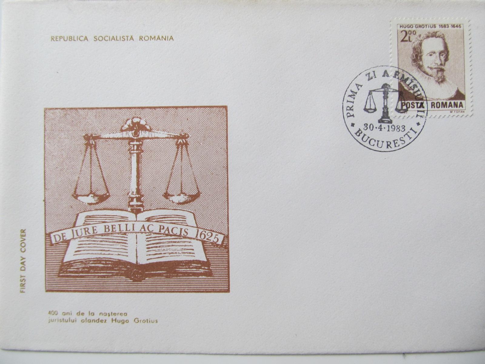 FDC , 400 ani de la nasterea juristului olandez Hugo Grotius , 1983