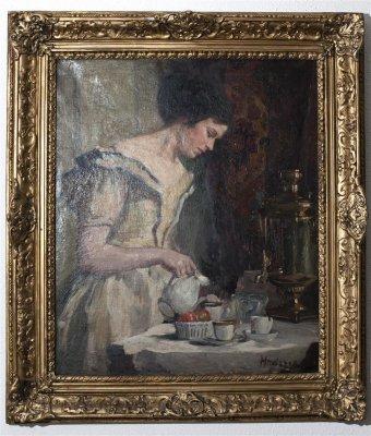 Femeie servind ceaiul , semnat