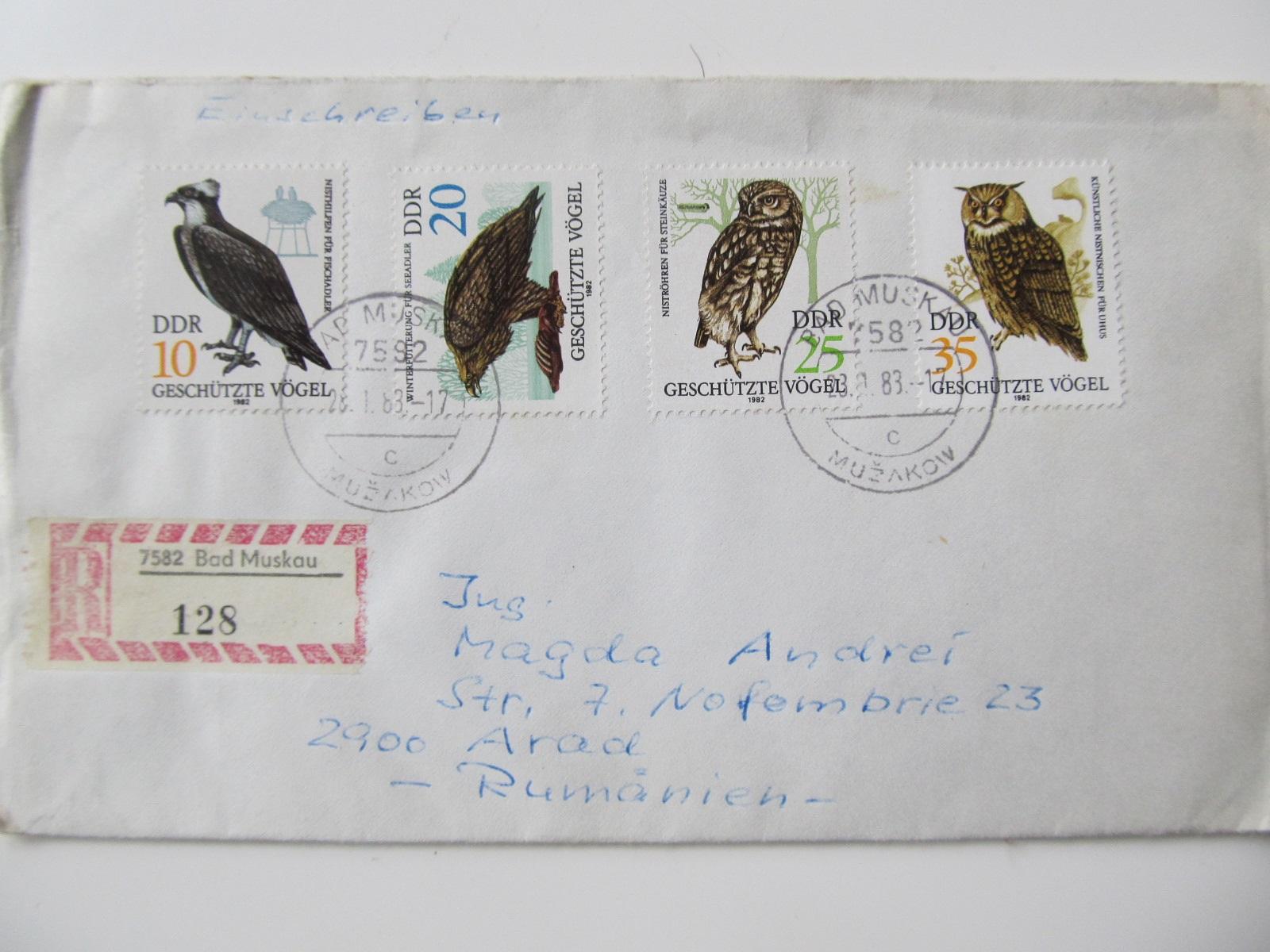 RDG , 1983 4 timbre , pasari de prada , plic circulat