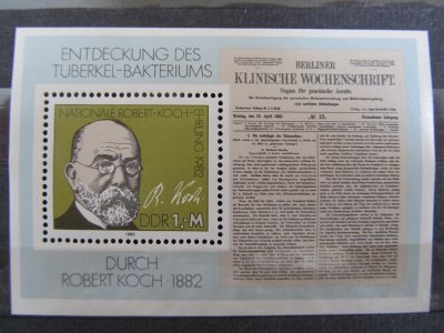 Robert Koch , colita DDR , 1982 , nestampilata