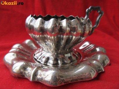 Set ceasca farfurioara de cafea din ARGINT masiv , 2 piese